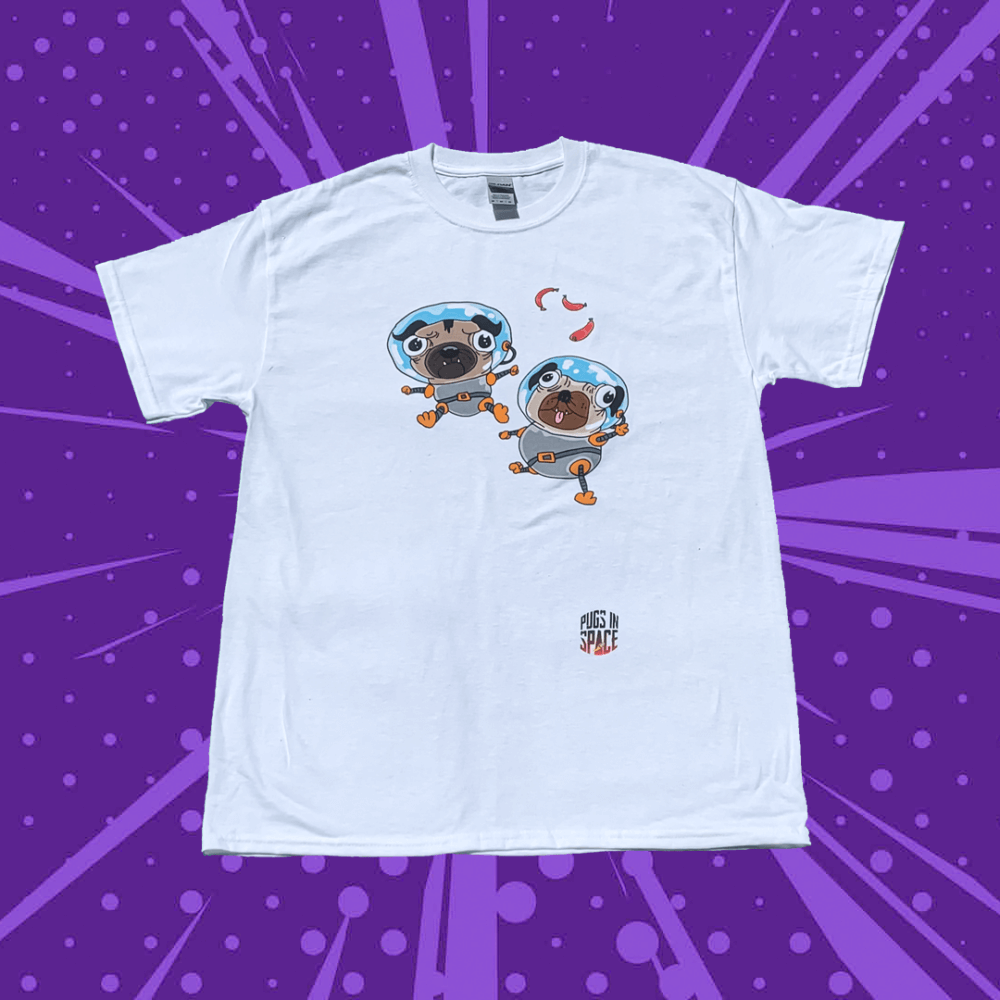 White t-shirt with two floating cartoon astronaut pugs on the front with a smaller pugs in space logo underneath on a purple cartoon background
