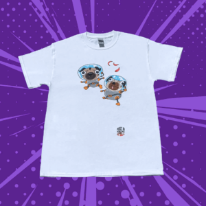 White T shirt with two floating astronaut pugs on the front on a purple background