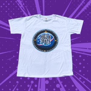 White t shirt with the pugs in space federation of canines logo on the front. Blue round space themed logo with pugs in space written in the middle.