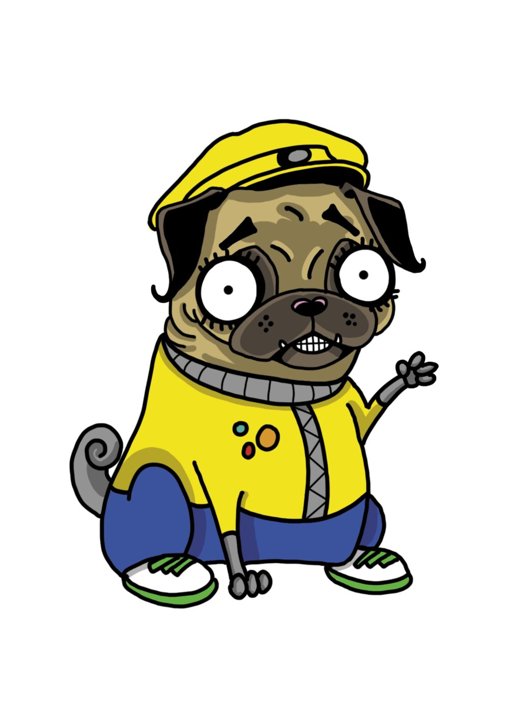 The final cartoon character design for Taser the pug