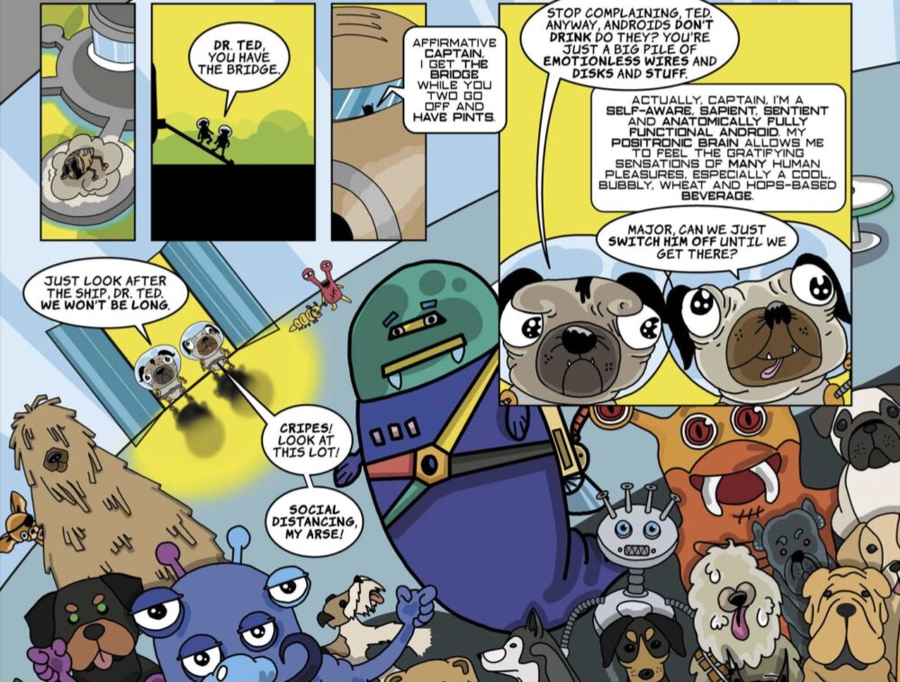 Zoomed in version of the text from the final Thirsty Hound scene from Issue 01 of the Pugs in Space comic