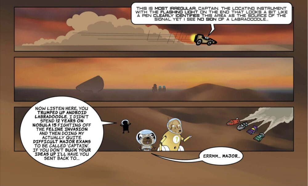Cartoon scene from the Pugs in Space comic issue 01