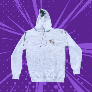 Grey hoodie with two floating pugs on a purple cartoon background