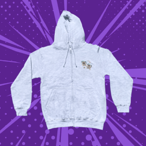 Grey zip up hoodie with two floating astronaut pugs on a purple cartoon background