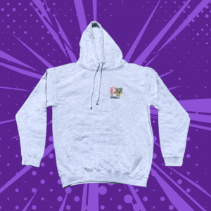Grey hoodie with three cartoon pugs and lets get ready to grumble text on a purple cartoon background
