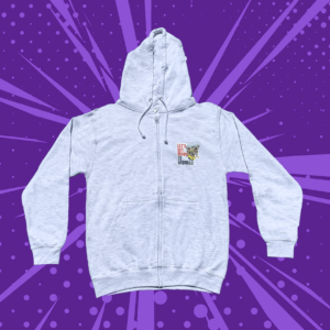 Grey zip up hoodie with three cartoon pugs and lets get ready to grumble text on a purple cartoon background