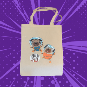 Tote bag with two cartoon astronaut pugs on a purple cartoon background