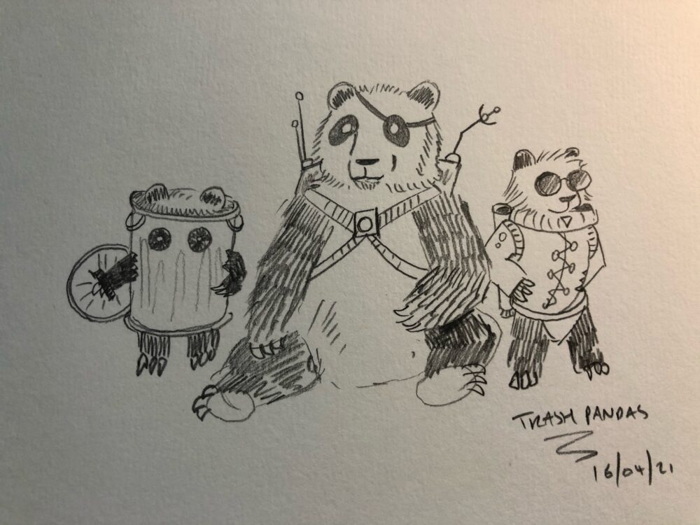 Character sketch design of the trash pandas coming soon to pugs in space comic issue 02.