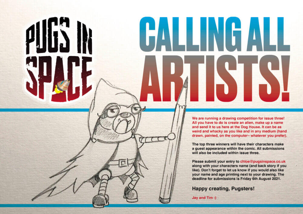 Drawing competition details for Pugs In Space Comic Book