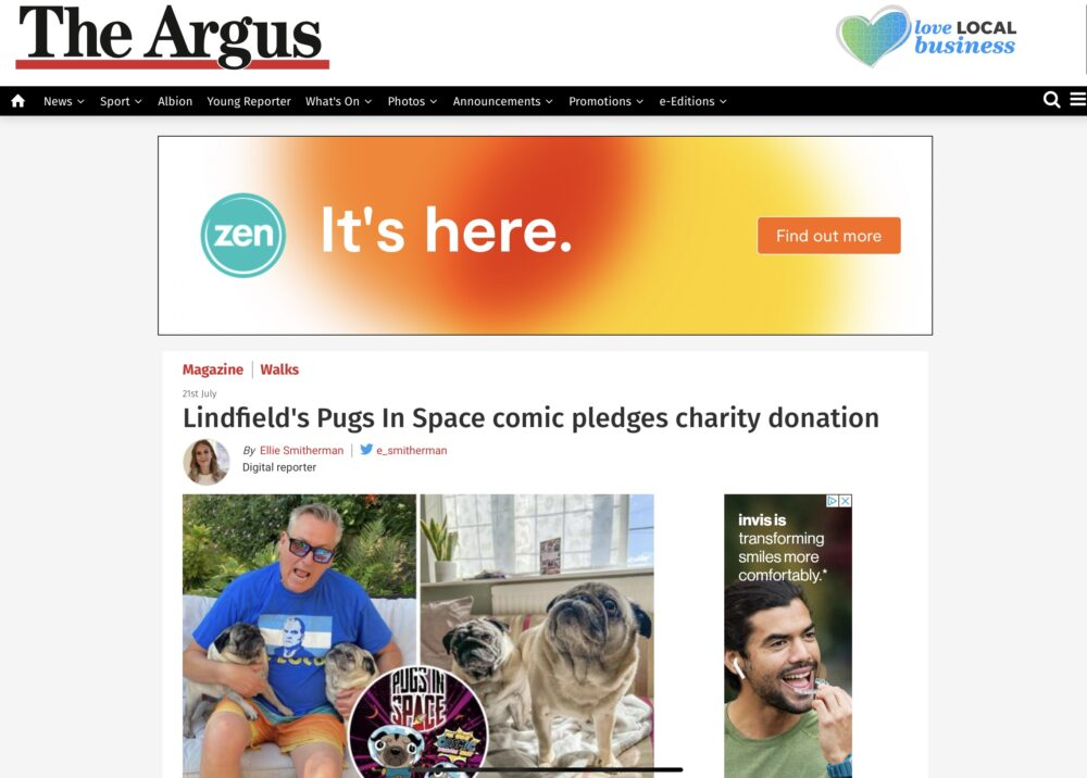 Screenshot of the Argus article about Pugs in Space