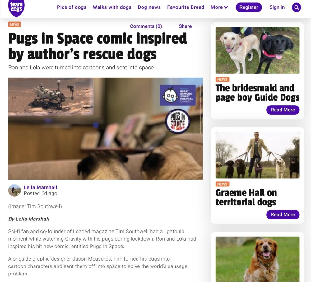 Screenshot of Team Dogs article about Pugs in Space