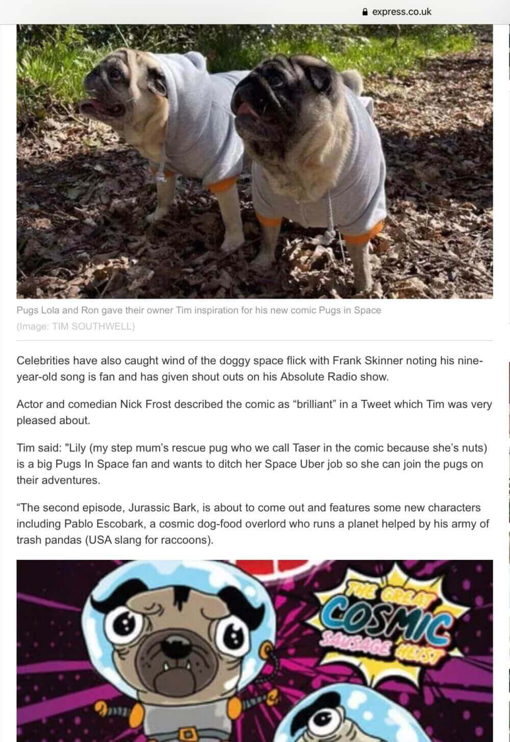Screenshot of the Daily Express article about Pugs in Space
