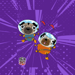 Purple cartoon background poster with two astronaut pugs floating on it on a purple cartoon background